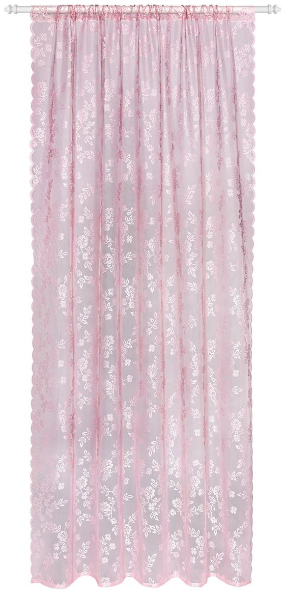 Závěs Babette - tmavě růžová, Romantický / Rustikální, textil (140/245cm) - Zandiara