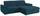 Wohnlandschaft L-form Verona 265x180cm - Türkis/Chromfarben, LIFESTYLE, Holz/Kunststoff (265/180cm) - Ombra