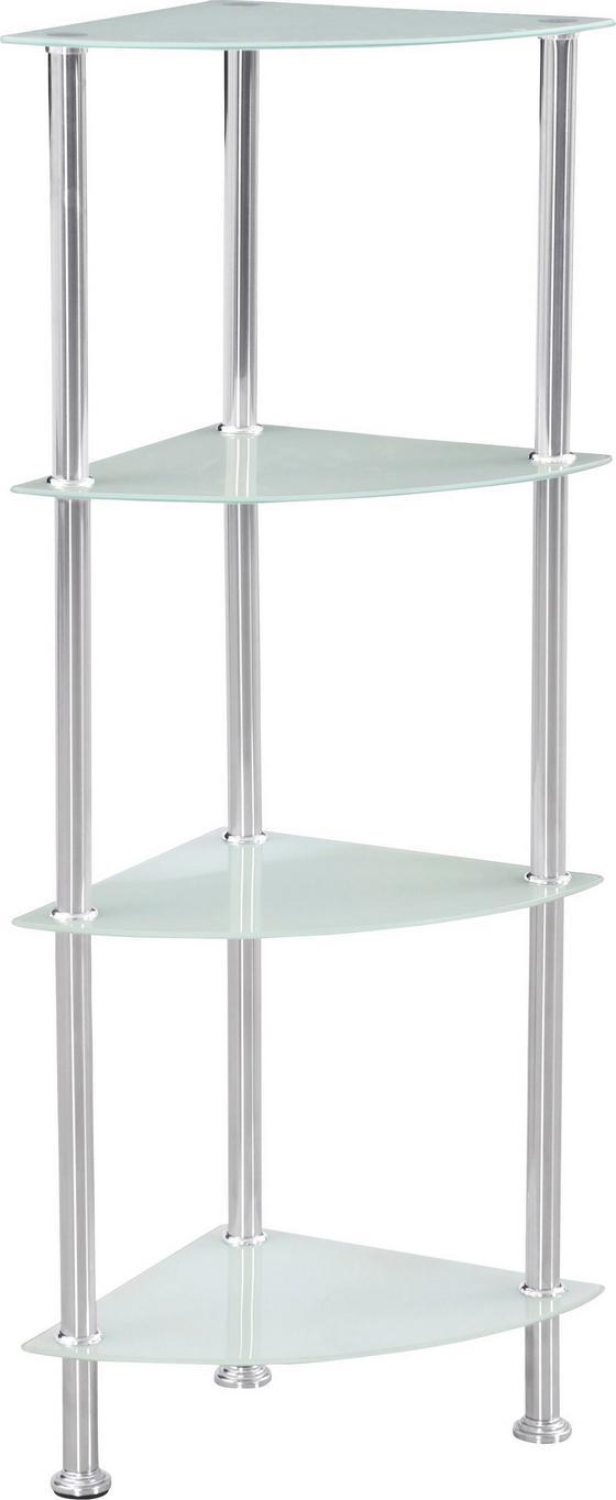 Regál Glare - bílá/barvy nerez oceli, Moderní, kov/sklo (30/99/30cm) - Luca Bessoni