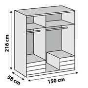 Drehtürenschrank Level 36a B:150cm Graphit/ Eiche Dekor - Eichefarben/Graphitfarben, MODERN, Holzwerkstoff (150/216/58cm)