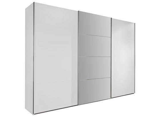 Schwebetürenschrank Ernie B:270cm Alpinweiß/ Spiegel - Weiß, MODERN, Glas/Holzwerkstoff (270/210/65cm)