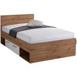 Bett Box 120x200 Artisan Eiche/Alpinweiß - Eichefarben/Weiß, MODERN, Holzwerkstoff (120/200cm)