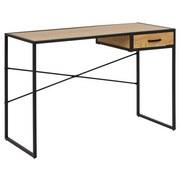 Schreibtisch Seaford B: 110 cm Wildeiche Dekor - Eichefarben/Schwarz, MODERN, Holzwerkstoff/Metall (110/75/45cm) - Xora