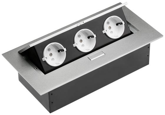 Steckdosenelement Alu 3 X Schuko - Alufarben/Schwarz, MODERN, Metall (27,7/5,2/10cm) - Evoline
