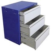 Werkstattschrank 3 Laden 67cm Grau/blau - Blau/Grau, KONVENTIONELL, Metall (67/84,5/46,5cm) - Erba
