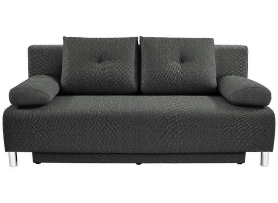 Boxspringsofa mit Bettfunktion und Bettkasten Ines Webstoff - Chromfarben/Graphitfarben, MODERN, Holz/Textil (203/96/102cm) - Luca Bessoni