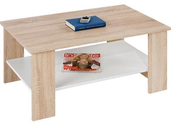 Couchtisch Holz mit Ablagefach Paolo, Sonoma Eiche Dekor - Eichefarben/Weiß, KONVENTIONELL, Holz/Holzwerkstoff (90/41/55cm)