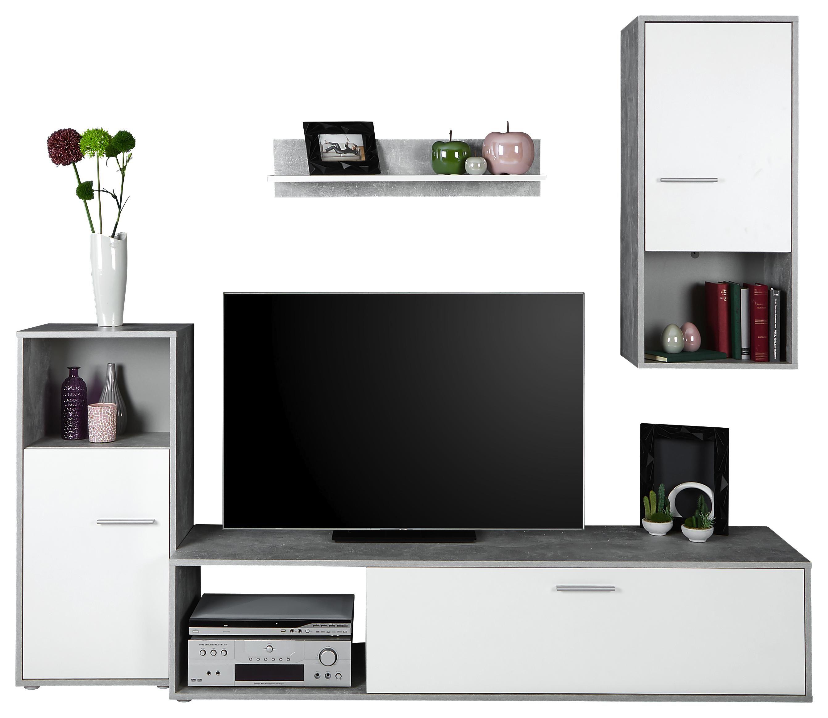 Obývací Stěna Aran *cenový Trhák* - bílá/světle šedá, Moderní, kompozitní dřevo (221/183,5/40cm)