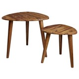 Satztisch 2-er Set Sheesham Massiv - Sheeshamfarben, Design, Holz (60/54/60cm) - MID.YOU