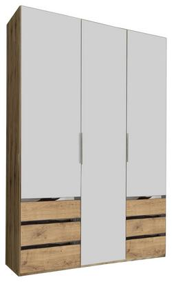 Dreitüriger Kleiderschrank in Weiß und Eiche Dekor