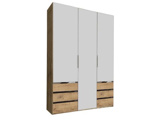 Drehtürenschrank mit Schubladen 150cm Level 36a, Eichendekor - Eichefarben/Weiß, MODERN, Holzwerkstoff (150/216/58cm)