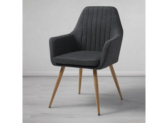 Jedálenská Stolička Eda - prírodné farby/tmavosivá, Moderný, kov/textil (67/96/59cm) - Modern Living