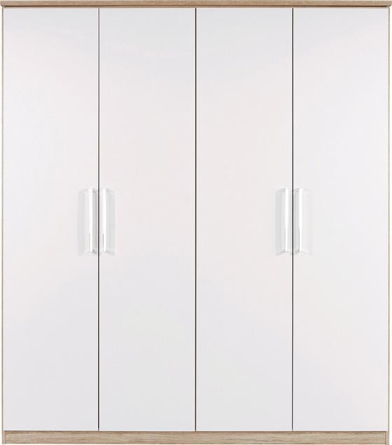 Skříň Šatní Wien - bílá/barvy dubu, Konvenční, dřevěný materiál (181/212/56cm)