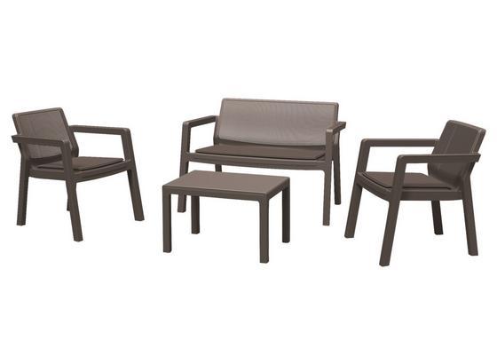 Balkonmöbel Set Emily Kunststoff mit Kissen - Hellgrau/Graphitfarben, Basics, Kunststoff/Textil