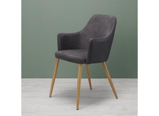 Židle Chrisi - šedá/barvy buku, Moderní, kov/dřevo (58/86/58cm) - Modern Living