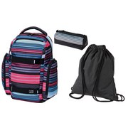 Schultaschenset Scale Stripes 3-teilig - Blau/Pink, MODERN, Textil (32/44/22cm) - Walker