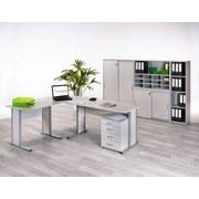 Schreibtisch Serie 4000 B:140cm Lichtgrau - Silberfarben/Hellgrau, Basics, Holzwerkstoff/Metall (140/72,2/65cm) - MID.YOU