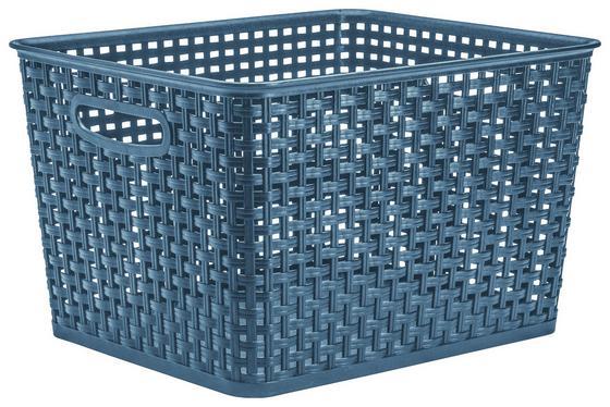 Aufbewahrungskörbchen Rattan 17 Liter - Blau, KONVENTIONELL, Kunststoff (35,5/29/22cm) - Plast 1