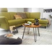 Couchtisch Holz mit Massiver Tischplatte, Sheesham - Sheeshamfarben/Schwarz, MODERN, Holz/Metall (60/60/45cm) - MID.YOU