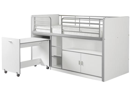 Hochbett Bonny 90x200 cm Weiß - Weiß, Basics, Holzwerkstoff (90/200cm) - Livetastic