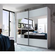 Schwebetürenschrank Penta B:215cm Weiß/spiegel - Weiß, MODERN, Glas/Holzwerkstoff (215/210/60cm)