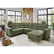 Wohnlandschaft U-Form Bavello Style Grün - Chromfarben/Dunkelgrün, KONVENTIONELL, Textil (217/291/170cm) - Livetastic