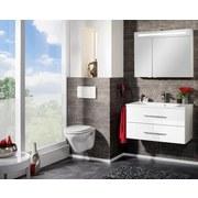 Spiegelschrank mit Türdämpfer + Led B.clever B: 90 cm Weiß - Weiß, MODERN, Glas/Holzwerkstoff (90/71/16cm) - Fackelmann