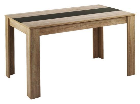 Rechteckiger Esstisch in Holzdekor mit Einsatzplatte