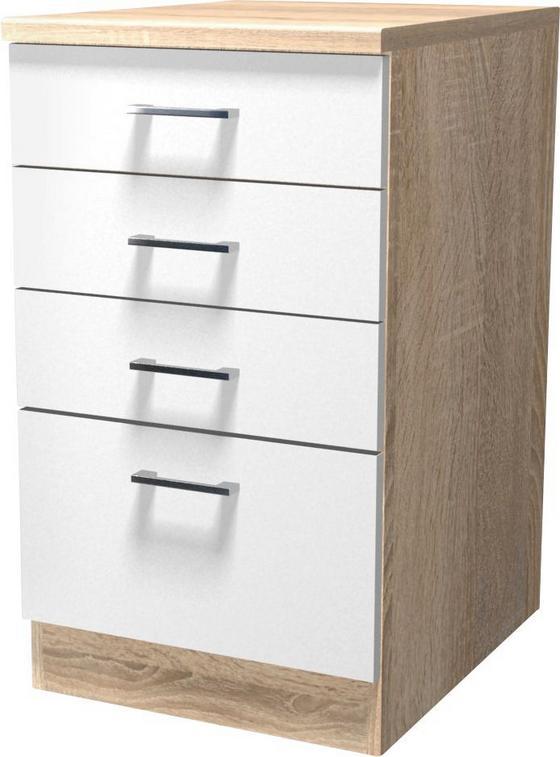 Spodní Skříňka Se Zásuvkami Samoa  Ussa 50 - bílá/barvy dubu, Konvenční, dřevěný materiál (50/85/57cm)