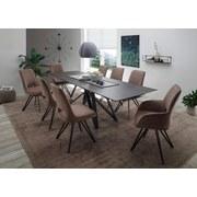 Stuhl Amira Stoffbezug Taupe Gepolstert - Taupe/Schwarz, KONVENTIONELL, Textil/Metall (48/93/60cm) - MID.YOU