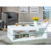 Couchtisch mit Ablagefach Aua Glas Xono, Weiß - Weiß, Basics, Glas/Holzwerkstoff (120/60/40cm) - MID.YOU