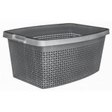 Wäschekorb Rattan 40 Liter - Grau, KONVENTIONELL, Kunststoff (56/39/22cm) - PLAST 1