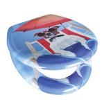 WC-Sitz Duroplast Chilled Dog - Blau/Rot, MODERN, Kunststoff (37,4/45,3cm)