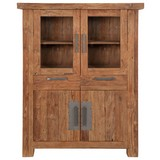 Highboard Coruna B: 115 cm Teakholz - Naturfarben, Basics, Glas/Holz (115/48/150cm)