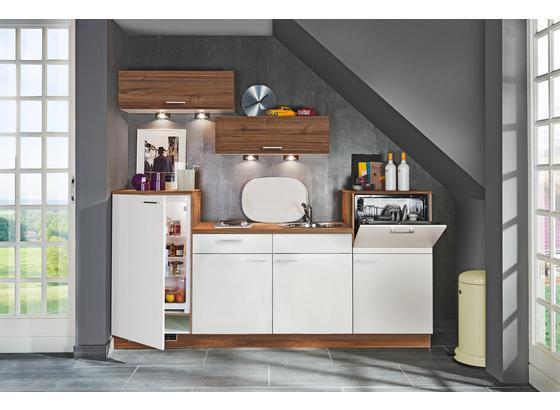 Küchenblock Moon/Plan - Nussbaumfarben/Weiß, KONVENTIONELL, Holzwerkstoff (240cm) - Express