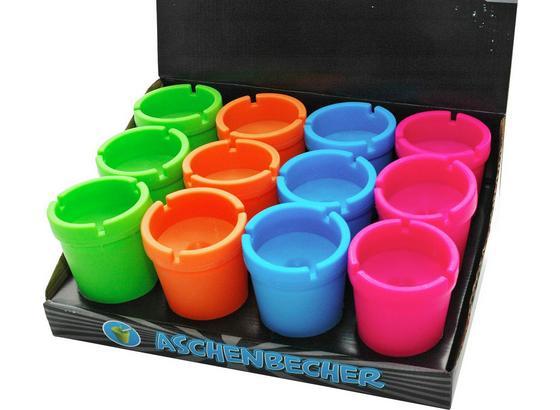Wind-Aschenbecher Kunststoff - Blau/Pink, KONVENTIONELL, Kunststoff (8/11cm)