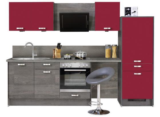 Küchenblock Pn100/Pn270 B: 287 cm 4-teilig - Eichefarben/Rot, Design, Holzwerkstoff (287cm) - Pino