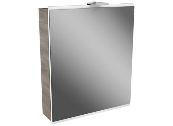 Spiegelschrank mit Türdämper + Led Lima B: 60cm Weiß+esche - Eschefarben, MODERN, Glas/Holzwerkstoff (60/73/15,5cm) - Fackelmann
