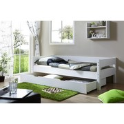 Bett Echtholz Massiv inkl. Bettkasten 90x200 Robby, Weiß - Weiß, KONVENTIONELL, Holz (90/200cm) - Livetastic