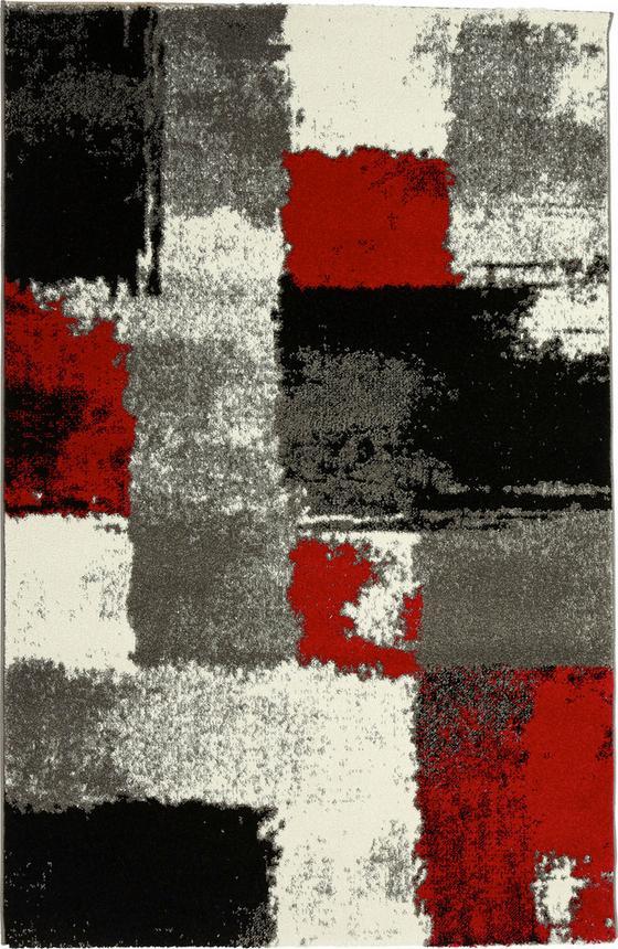 Szőnyeg Saphira - piros/szürke, konvencionális, textil (80/150cm) - OMBRA
