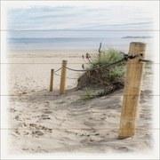 Keilrahmenbild Sandstrand - Blau/Beige, MODERN, Holzwerkstoff (40/40/2cm)
