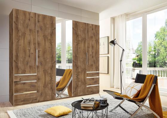 Fünftüriger Kleiderschrank in Eiche Dekor mit Schubladen und Spiegel
