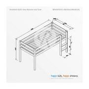 mittelhohes Bett Alex 90x200 cm Buche Massiv - Weiß, Design, Holz (90/200cm) - Bessagi Kids