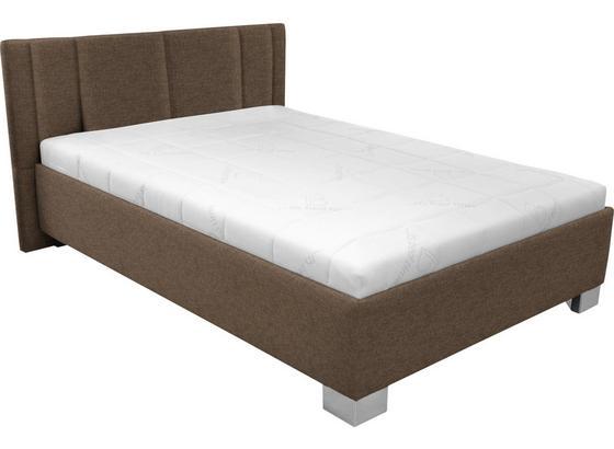 Čalúnená Posteľ Stilo 140x200 - hnedá/biela, drevo/textil (214/162/97cm)