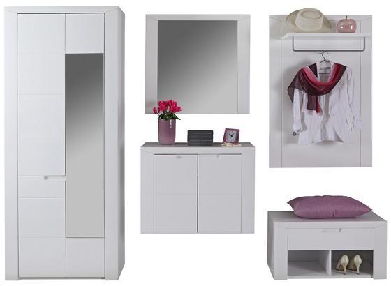 Garderobenkombination Bree 5 B:255cm Weiß Hochglanz - Weiß, MODERN, Karton/Holzwerkstoff (255/203/38cm)