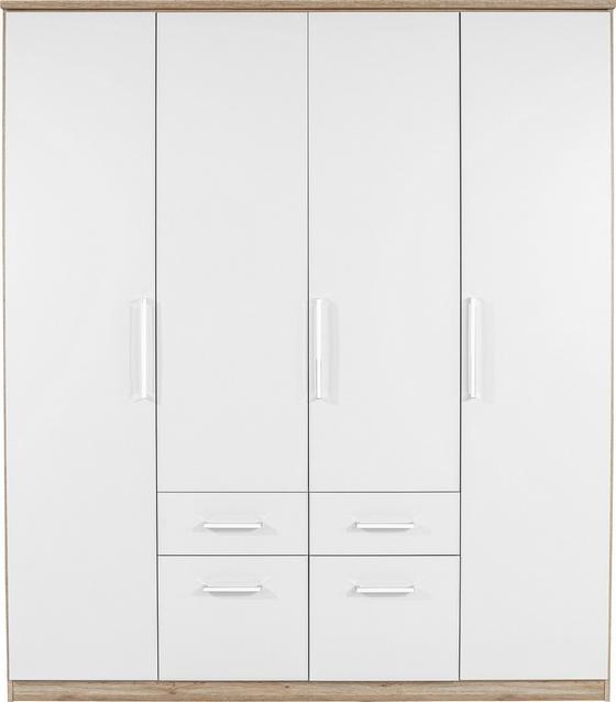 Skříň Šatní Wien - bílá/barvy dubu, Konvenční, kompozitní dřevo (181/212/54cm)