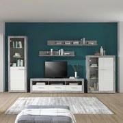 Wohnkombination Malta 7   Weiß/Grau, MODERN, Glas/Holzwerkstoff (345/