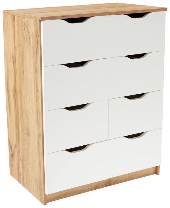 Kommode West 8 - Eichefarben/Weiß, MODERN, Holzwerkstoff (78/92/40cm)