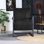 Sessel Austin Lederlook Schwarz - Schwarz, MODERN, Textil/Metall (65/88/81cm) - MID.YOU