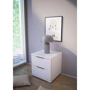 Nachtkästchen Weiß H: 43 cm - Silberfarben/Weiß, Basics, Holzwerkstoff (46/43/42cm)